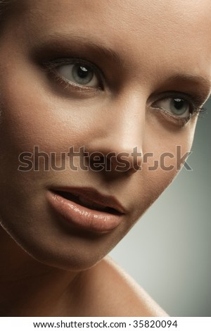 Woman's face close up with makeup