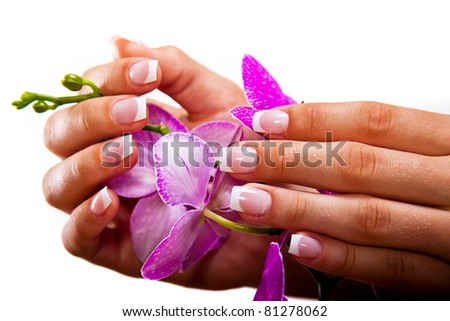 Woman's french manicure and pedicure