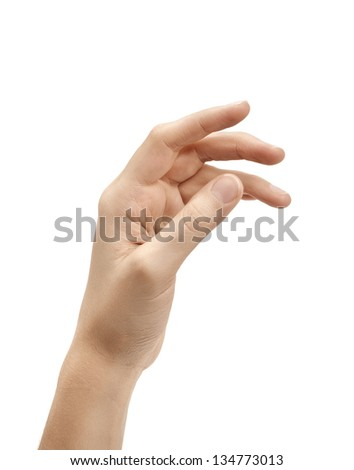 Woman's hand against white background