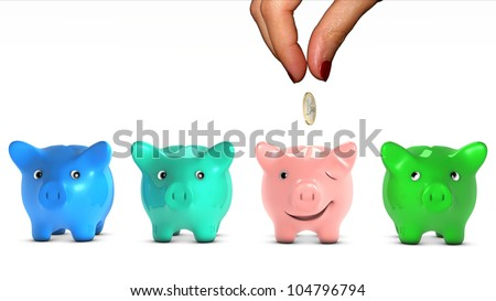 Woman's hand choosing a piggy bank and giving it a piece of money. The selected piggy bank is happy. Concept of doing a good placement choice. Ant fable.