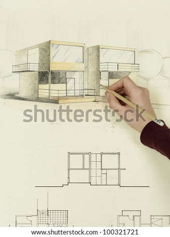 Modern Architectural Drawings Architecture Perspective Womanu0027s Hand Drawing Of House A