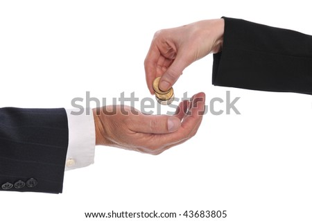 Woman's hand giving money to a businessman isolated on a white background