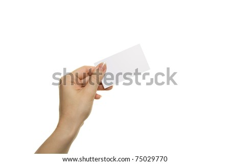 Woman's hand hold blank card isolated over white