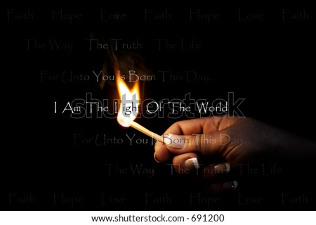 Woman\'s hand holding a blazing match which lights religious/Christian text:  \