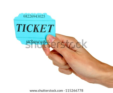 Woman's hand holding a colorful ticket on white background close-up