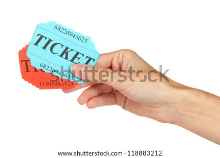 Woman's hand holding a colorful tickets on white background close-up