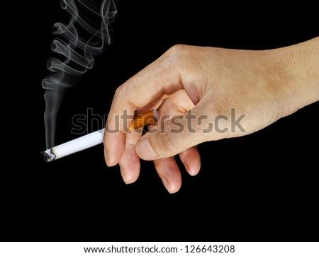 Woman's Hand Holding a Lit Cigarette