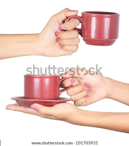 woman's hand holding a red cup isolated on white background