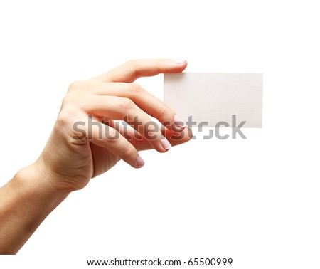 woman's hand holding empty business card