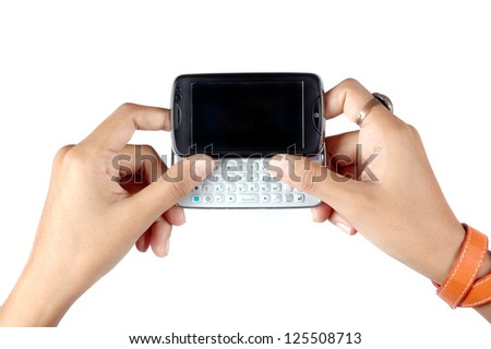 woman's hand holding the mobile phone touch screen isolated on white background