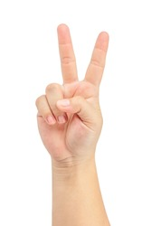 Woman's hand is show two fingers up isolated on white background. Finger symbols of peace strength fight, victory symbol, letter V in sign language or number two or second. Clipping Path.