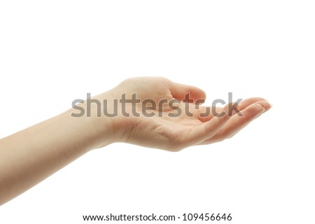 Woman's hand isolated on white - stock photo