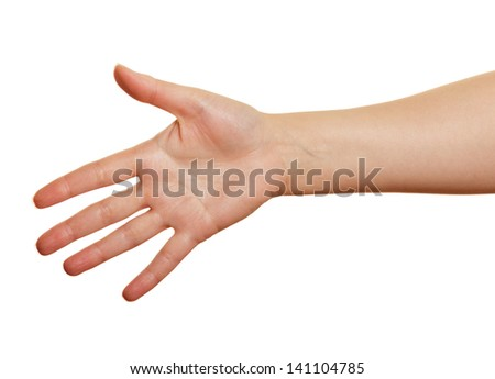 woman's hand on a white background. open palm