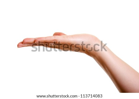 Woman's hand, palm up isolated on white background