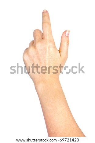 Woman's hand press button on white background