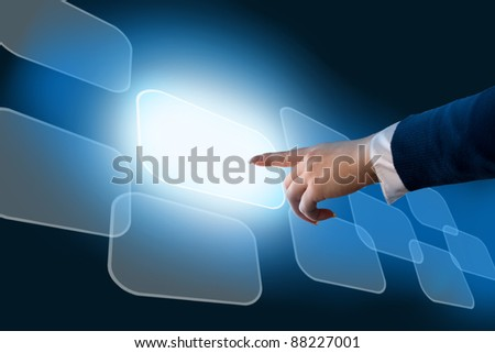 Woman's hand pushing the button.Touchscreen. Choice concept