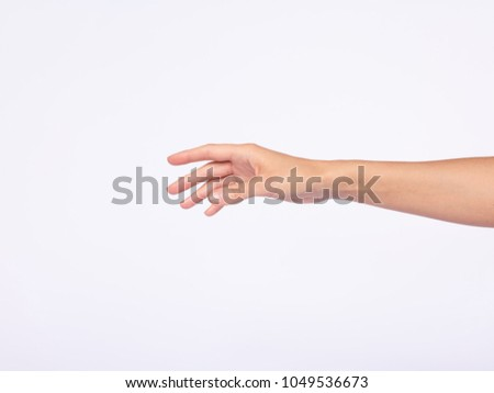 woman's hand, white background, natural, young