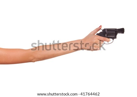 Woman's hand with a gun. Isolated on white.