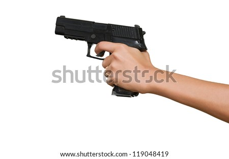Woman's Hand With A Gun Isolated On White Background - stock photo