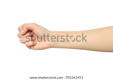 Woman's hand with fist gesture isolated on white #705261451