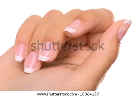 Woman's hand with French manicure  isolated on white background - stock photo
