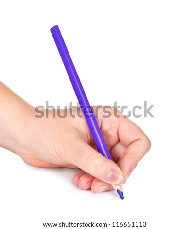 Woman's hand with pencil, isolated