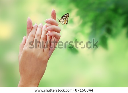 Woman's hand with The natural beauty of the butterfly