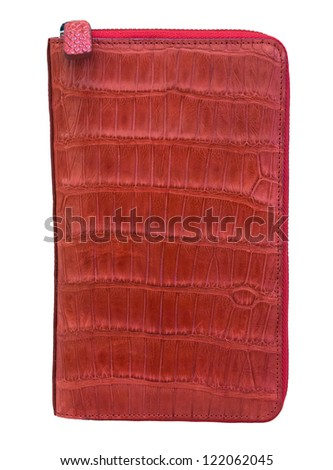 woman's handbag-clutch of red alligator zip isolated on white background