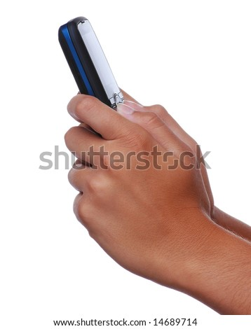 Woman's Hands Holding Cell Phone isolated over white
