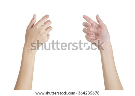 Woman's hands holding something empty front and back side, isolated on white background. #364235678