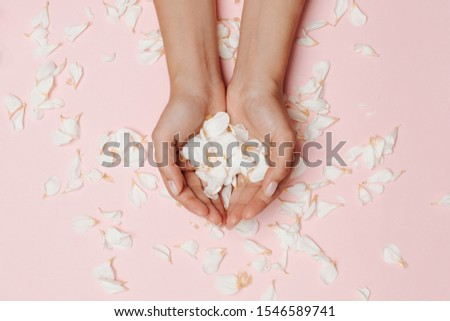 Woman's hands holding white petals, many petals on the pink background.