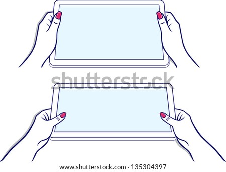 Woman's hands keeps tablet device isolated on white background