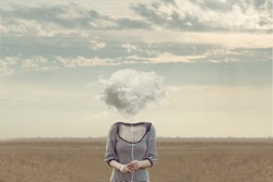 woman's head Replaced by a soft cloud