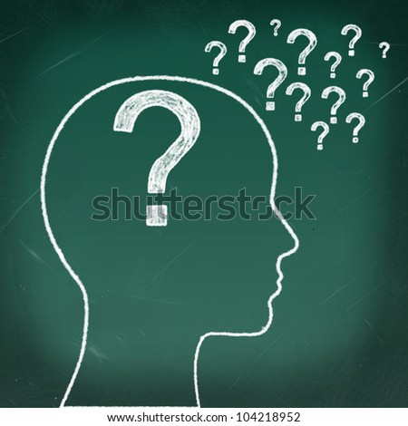 Woman's head with a question inside and question marks all over
