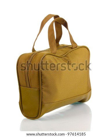 Woman's khaki bag isolated on white