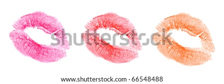 woman's kiss stamp on a white background