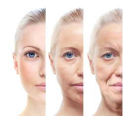 Woman's portrait isolated on white, 20,40,60 years old.