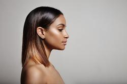 woman's profile, straight hair