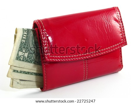 Woman's Red Wallet with One Dollar Bills