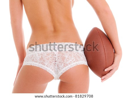 Woman's Sexy Backside Holding a Football wearing Lace Lingerie Panties