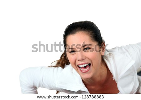 Woman screaming for joy