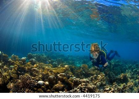 Woman scuba diver exploring the coral reef