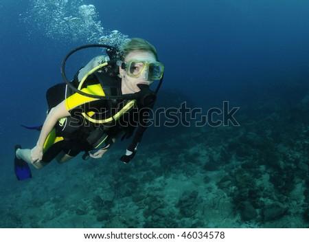 Gorgeous Woman Scuba Diver Woman Scuba Diver Underwater