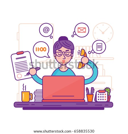 Woman secretary or female personal assistant illustration. Young office manager or businesswoman multi-tasking. Business lady or company worker.