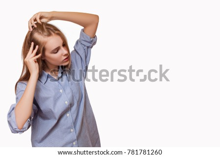 Woman Serious Hair Loss Problem for Health Care Hair Care. problem of baldness of the head, hair loss.   copy of the space for advertising a product or a slogan
