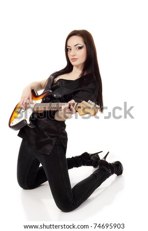 woman sexy beautiful musician playing guitar electric isolated on white background