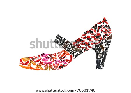 Woman shoe shape made of other shoes