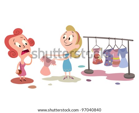 woman shopping clothes, selecting a dress - stock photo