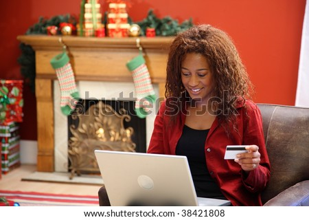 Woman shopping for Christmas online