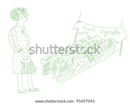Woman shopping fruits and vegetables cartoon